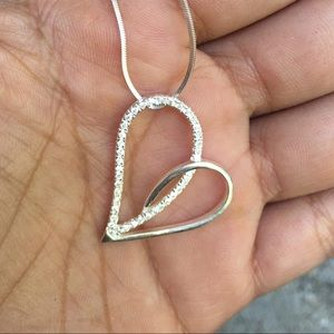 Peruvian Silver Paved Loop Heart Necklace